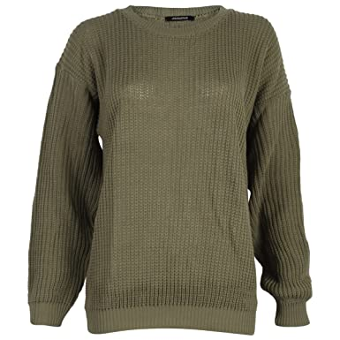 36decd769 Ladies Plain Chunky Knit Loose Baggy Oversized Jumper Tops Womens ...