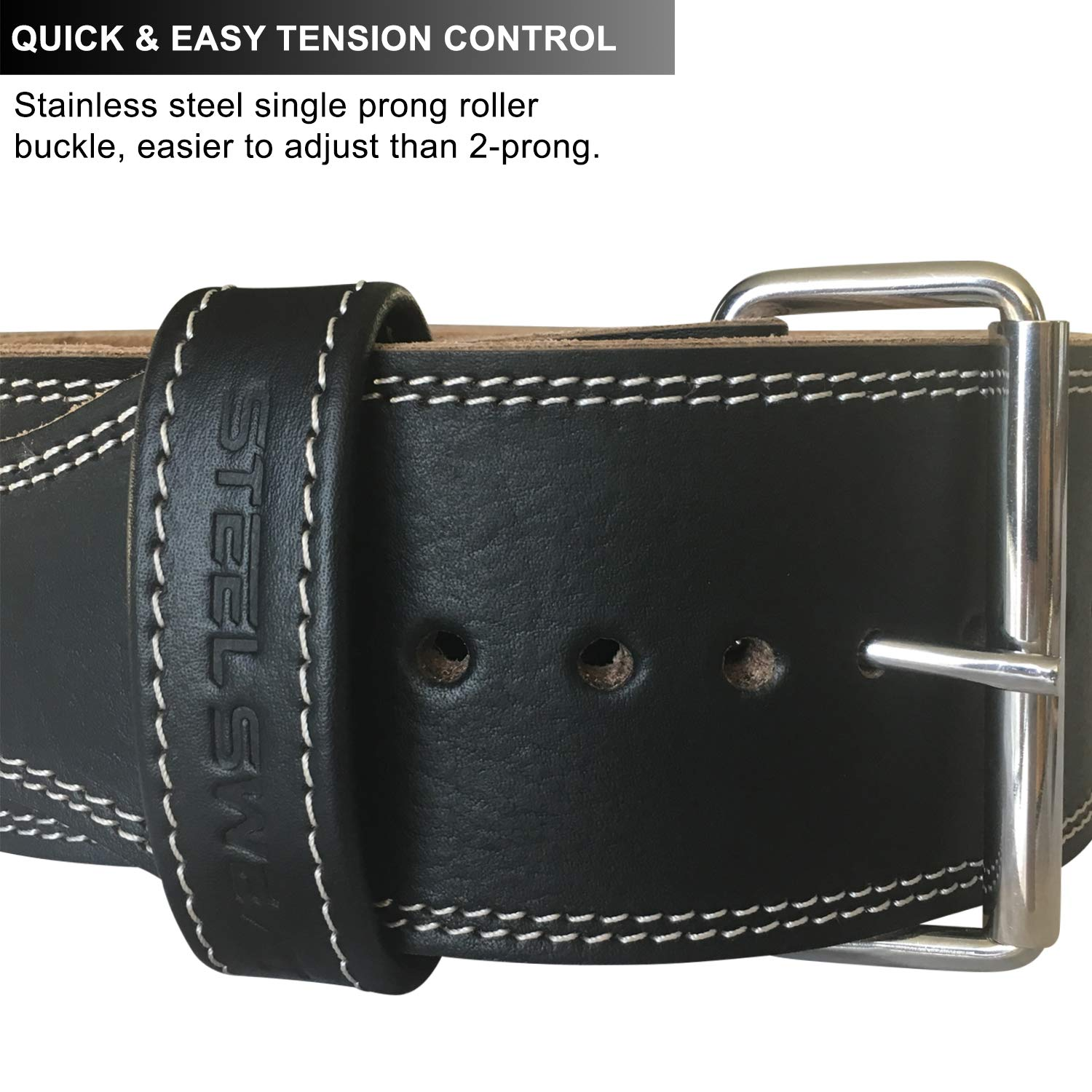 Steel Sweat Weight Lifting Belt - 4 Inches Wide by 10mm - Single Prong Powerlifting Belt That's Heavy Duty - Genuine Cowhide Leather - Medium Texus by Steel Sweat (Image #5)