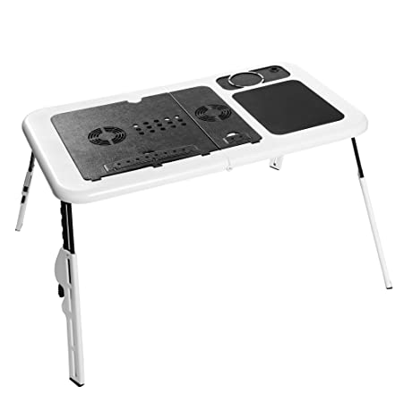 Pagacat Foldable Laptop Table,Portable Adjustable Laptop Desk Laptop Stand for Bed with Cooling Fan and Mouse Pad US Stock Type1