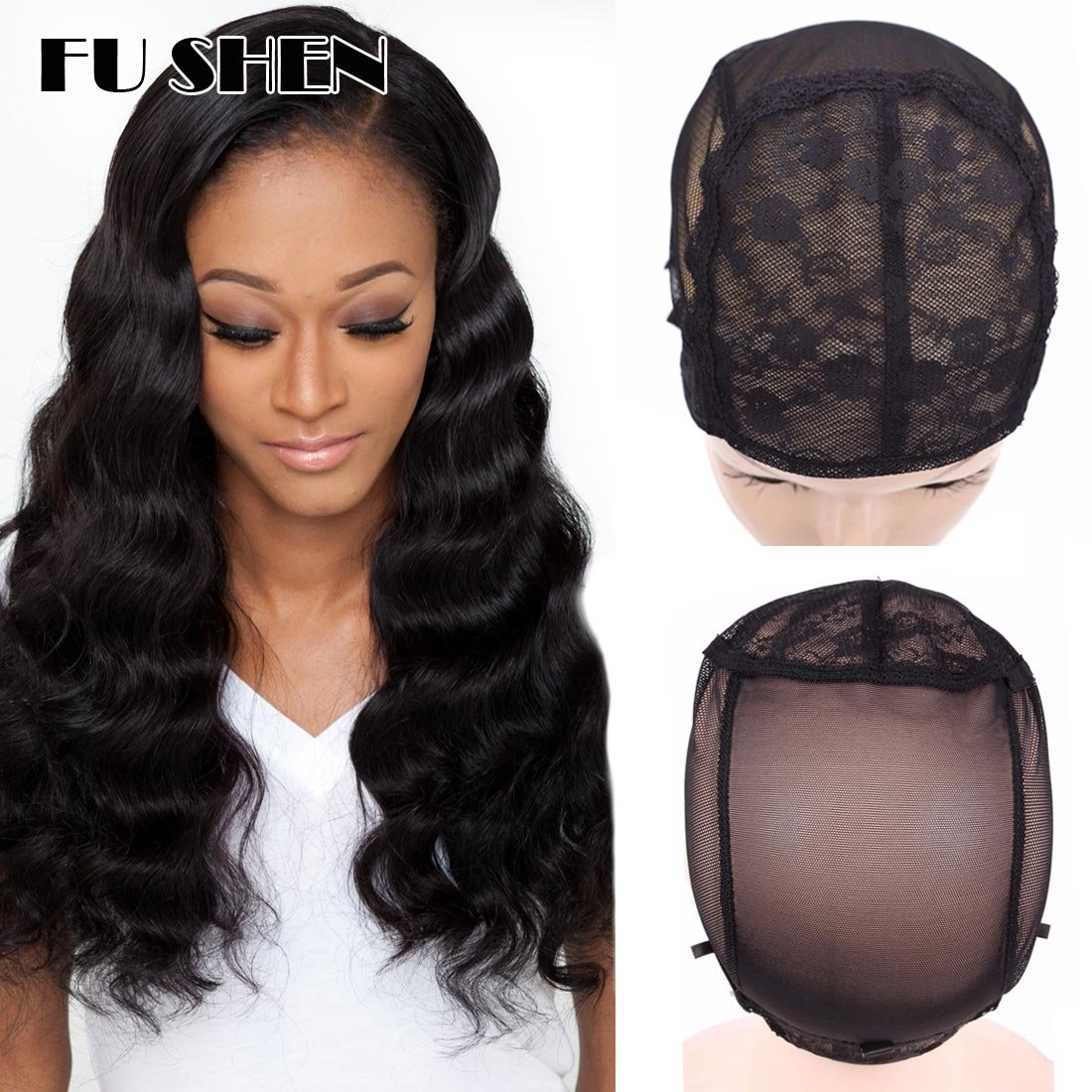 Double Swiss Lace Wig Cap To Make Wig With Adjustable Straps And Combs, Black Mesh Hairnets Wig Caps Size Large For 22Inch Big Head 2 Pcs/Pack by FU SHEN