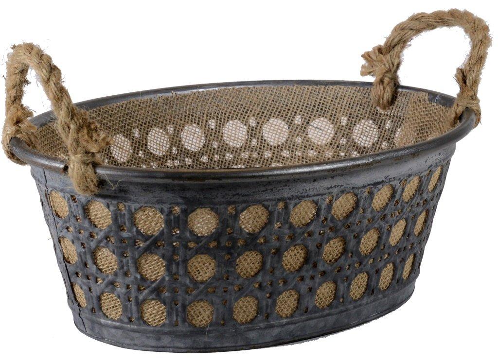 SAVINO FILIPPO SRL Cesto cesta cestino cestone recipiente ovale in ferro grigio zincato traforato foderato in juta e manici in corda per confezione regalo contenitore porta frutta pane centro tavola
