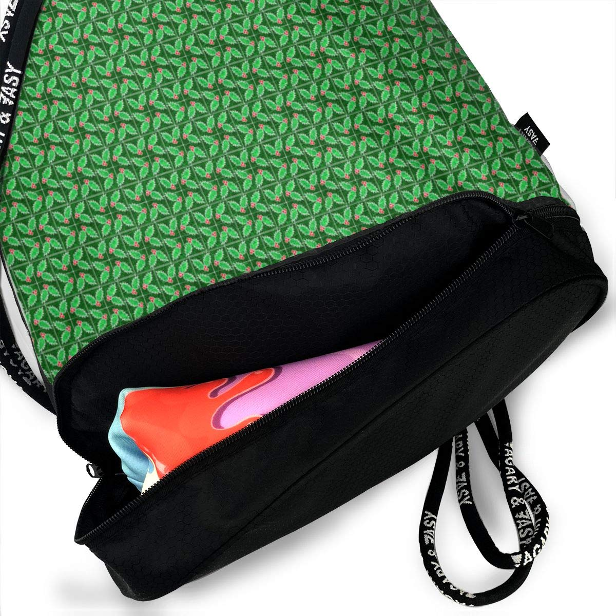 Marble Mosaic Tiny Holly Drawstring Backpack Sports Athletic Gym Cinch Sack String Storage Bags for Hiking Travel Beach