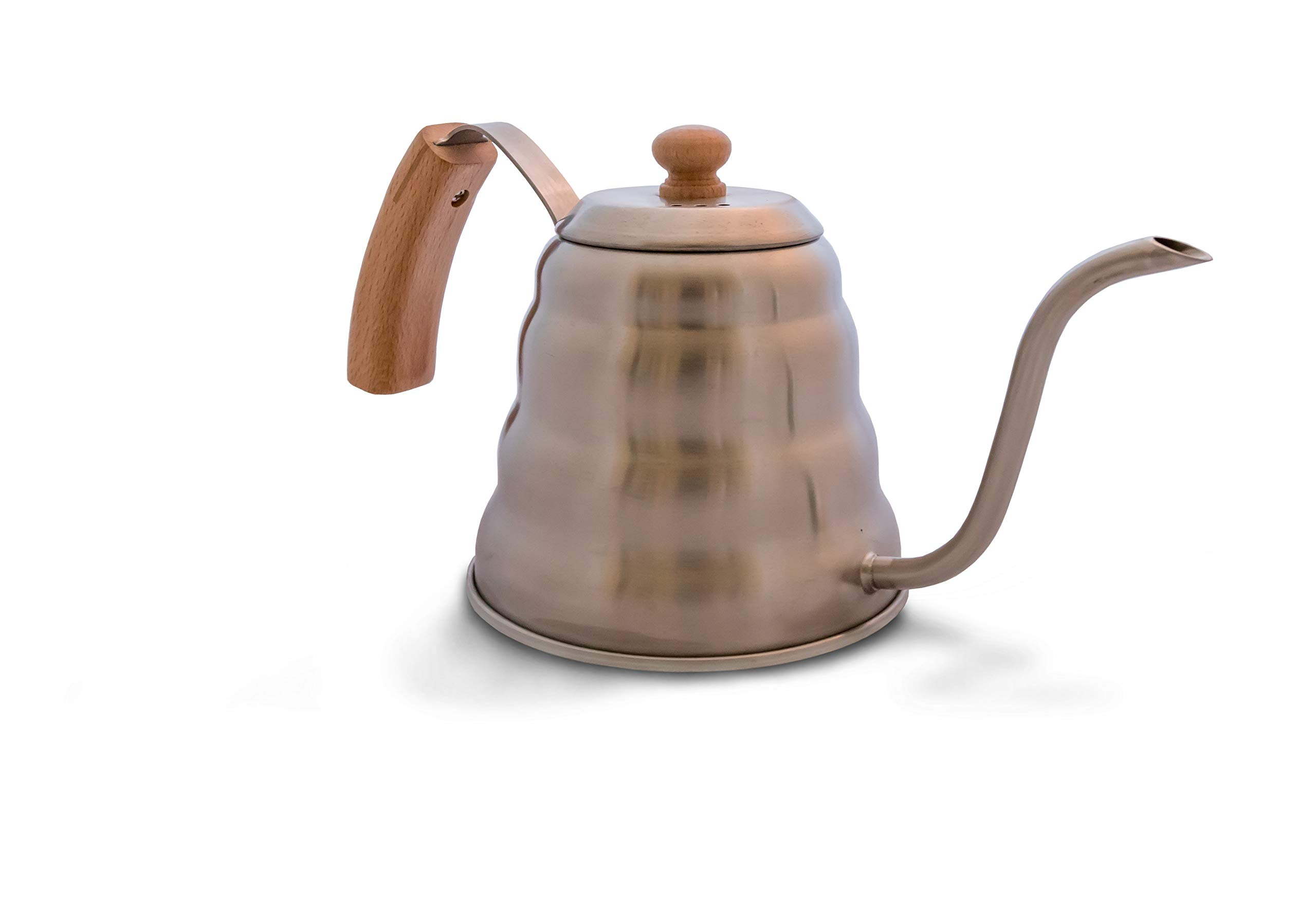 Heiwa Pouring Kettle w/Bamboo Handle, 1.2 litre - Barista or Homebrew for The Perfect Pour Over Coffee (Beechwood lid)