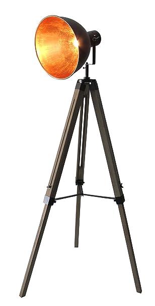 Stativ Stehleuchte Dreibein Retro Studiolampe Spot schwarz-gold 95-143cm 605455