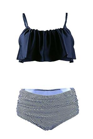 244e98bf42 Amazon.com  Gotswim Summer Holiday Sexy Retro High Waisted Falbala Bikini  Set Swimsuit for Women - S-XL  Clothing