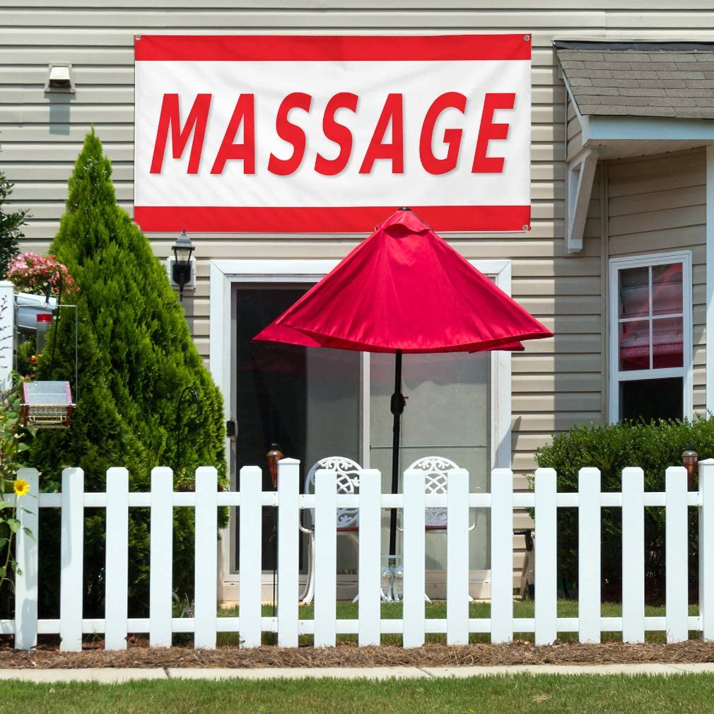 Vinyl Banner Multiple Sizes Massage Red A Business Outdoor Weatherproof Industrial Yard Signs 8 Grommets 48x96Inches