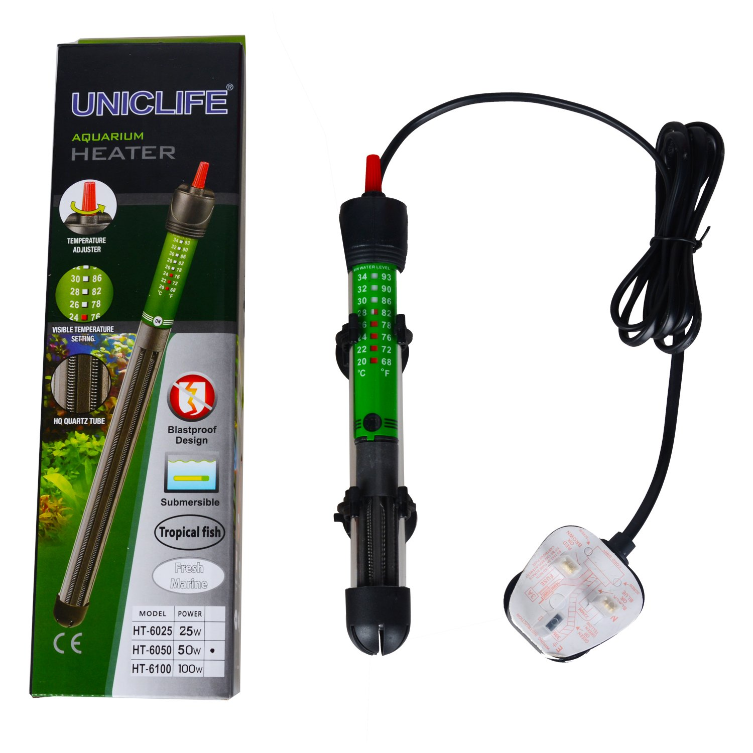 Pawfly HT-6050 Aquarium Heater Submersible with Thermometer for 10 Gallon Fish Tank 50 W