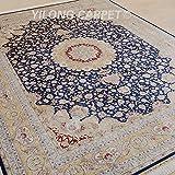 Yilong 9 x12  Large Handmade Silk Rug Vintage Oriental Tabriz Persian Medallion Design Handwoven Home Carpet (...