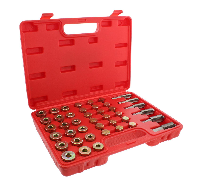 ABN Metric Oil Pan Drain Plug Thread Repair Rethreading 114-Piece Tool Set – Rethreader Tap Kit Motorcycle Car Threading by ABN (Image #1)