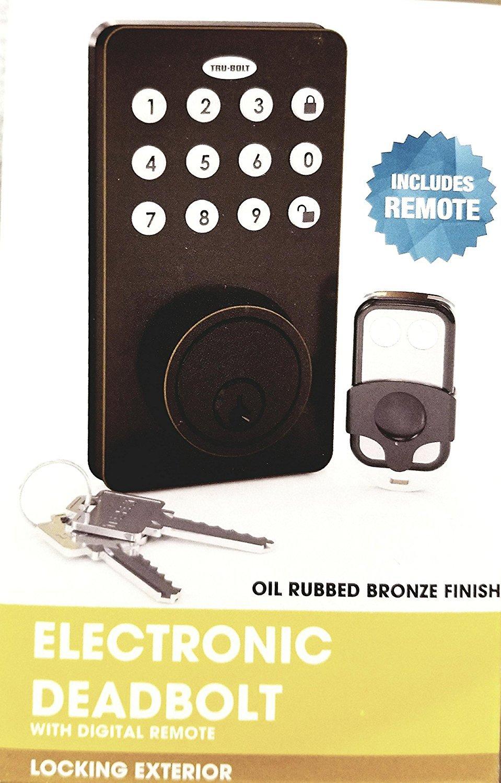 Tru-Bolt Electronic Keyless Deadbolt Lock with Keypad and Remote ...