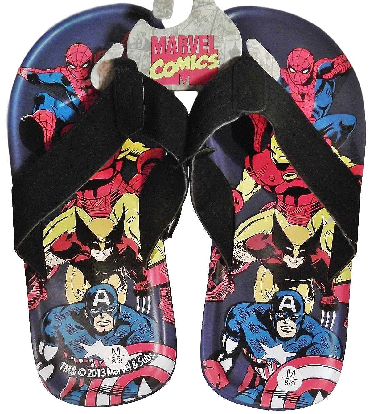 M Marvel Comics SUPER HEROES Mens FLIP-FLOP Sandals Size Medium