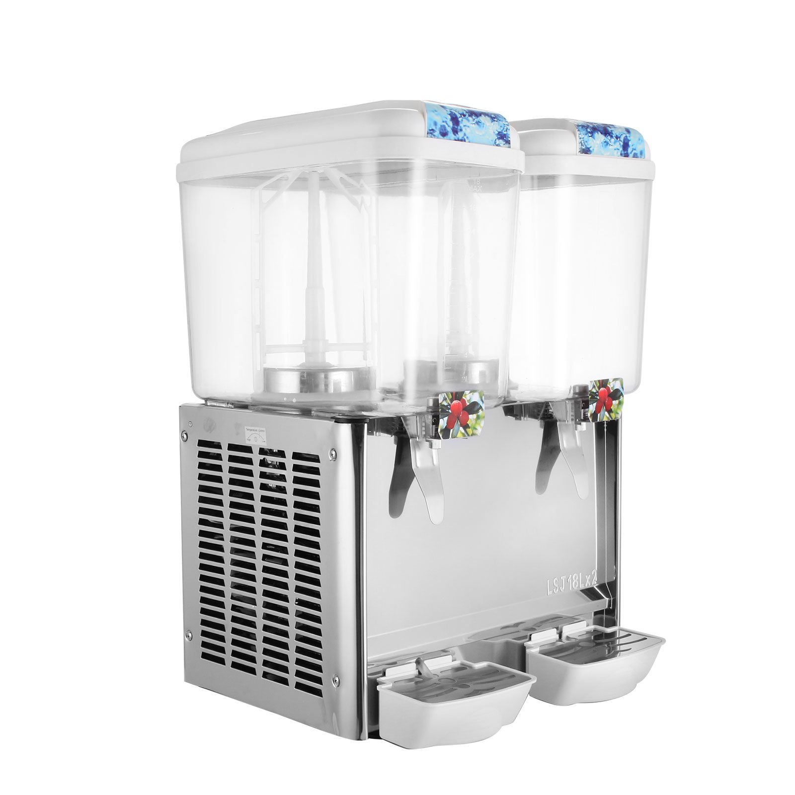 BestEquip Juice Dispenser Two Tanks 9.5 Gallon Beverage Dispenser 280W Cold Fruit Juice Beverage Commercial Beverage Dispenser 18 Liter Per Tank