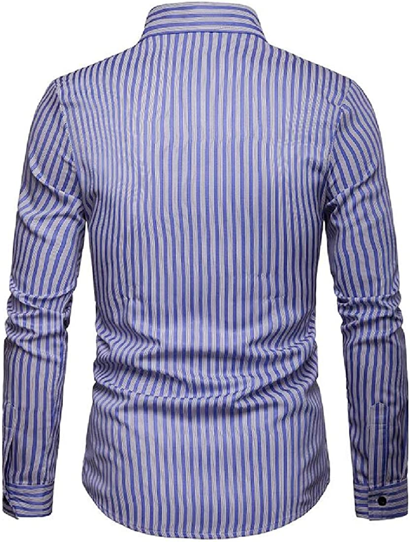 Domple Mens Casual Lapel Classic Formal Long Sleeve Vertical Stripe Button Down Shirts