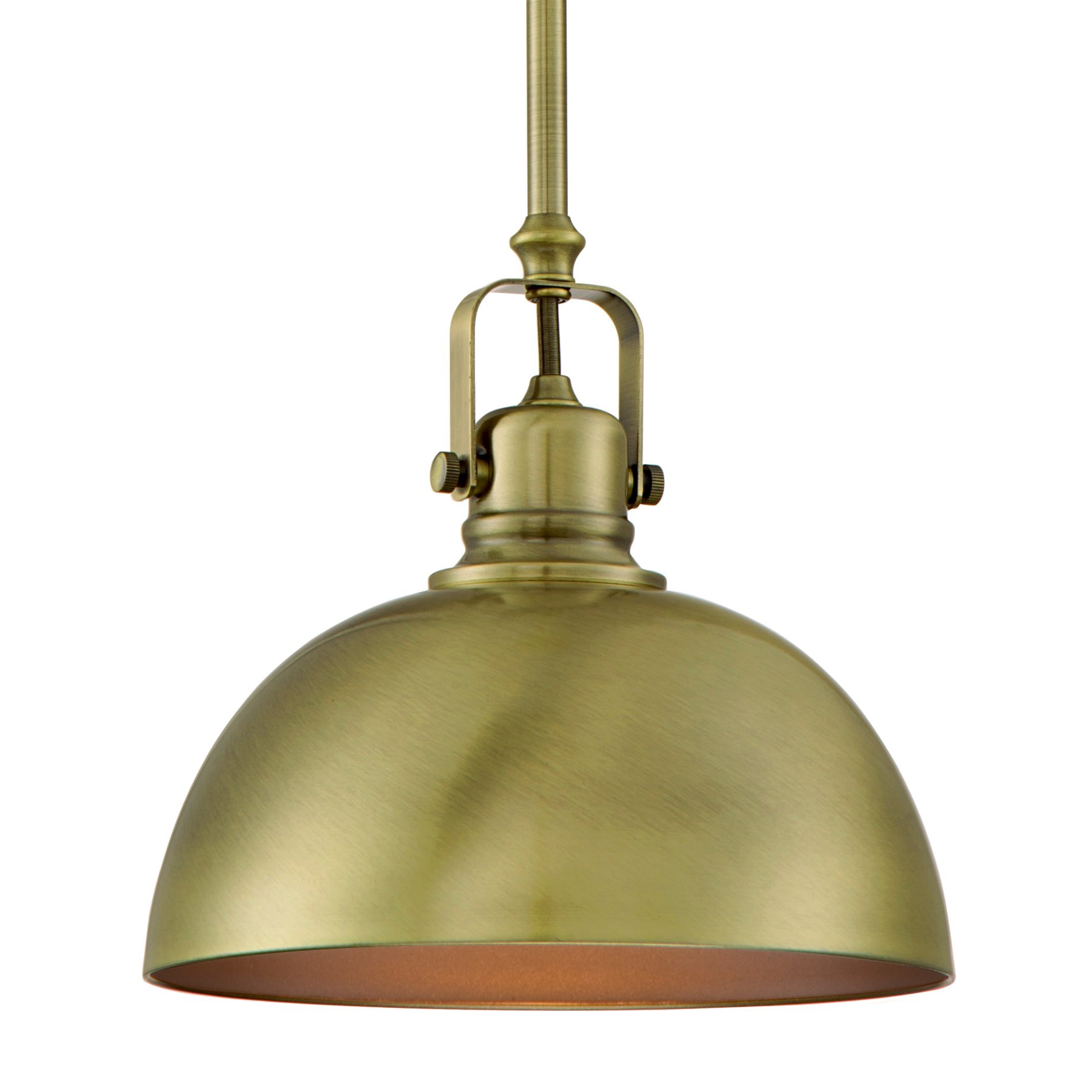 Kira Home Belle 9'' Contemporary Adjustable Pendant Light, Antique Brass Finish