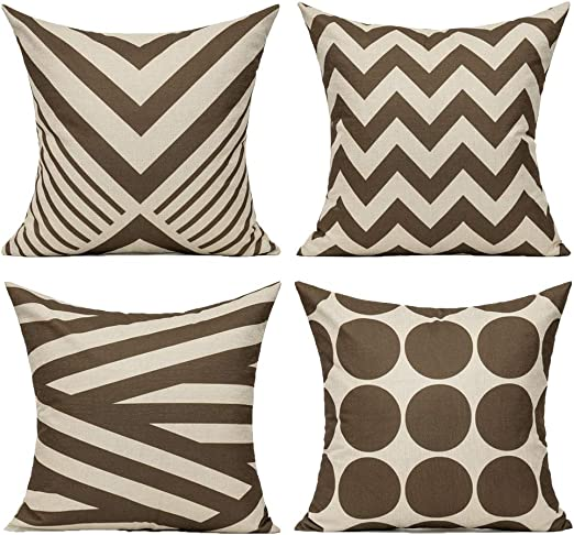 Amazon Com All Smiles Coffee Chocolate Decorative Throw Pillow Cases Cushion Covers Pillowcases Accent Outdoor Décor 18x18 Set Of 4 For Couch Patio Sofa Geometric Brown Modern Decorations Furniture Decor