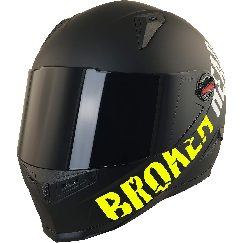 XS 53-54 cm schwarz-matt - Motorradhelm inkl schwarzem Visier Broken Head BeProud neon gelb Ltd