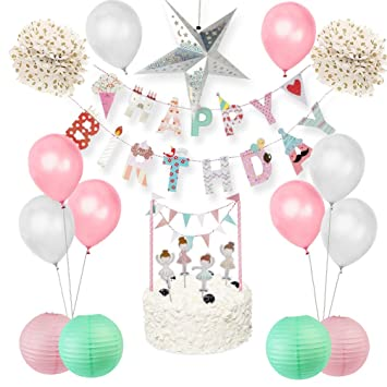 Easy Joy Cálido Decoración Rosa para Cumpleaños de Bebé, Deco con Globos y Ballet Topper para Pastel y Happy Birthday Bandera Coloreado y Estrella ...