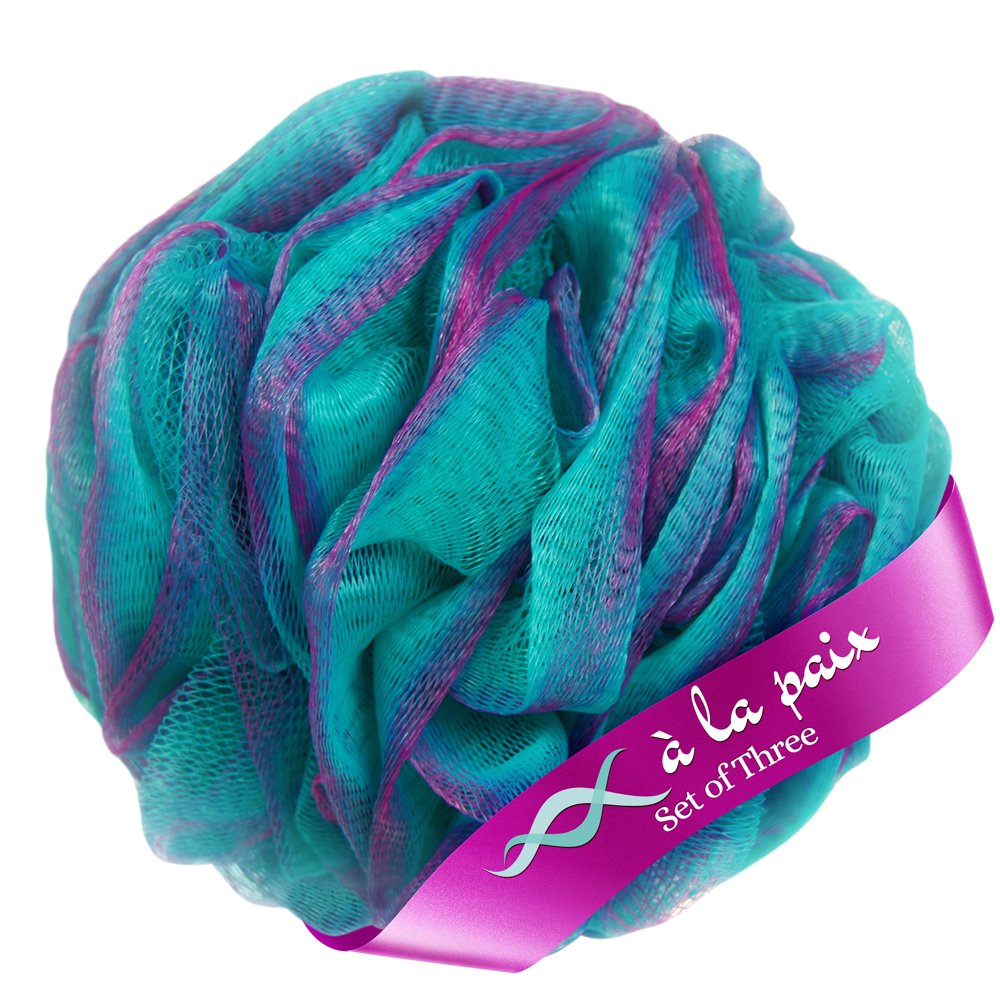À La Paix Loofah Bath Sponge Body Scrubber Pouf -Loofa Luffa Loufa Shower Puff-Lufa Sponge Scrunchie for Beauty Bathing, XL 70g (Set-3 Tropical colors)