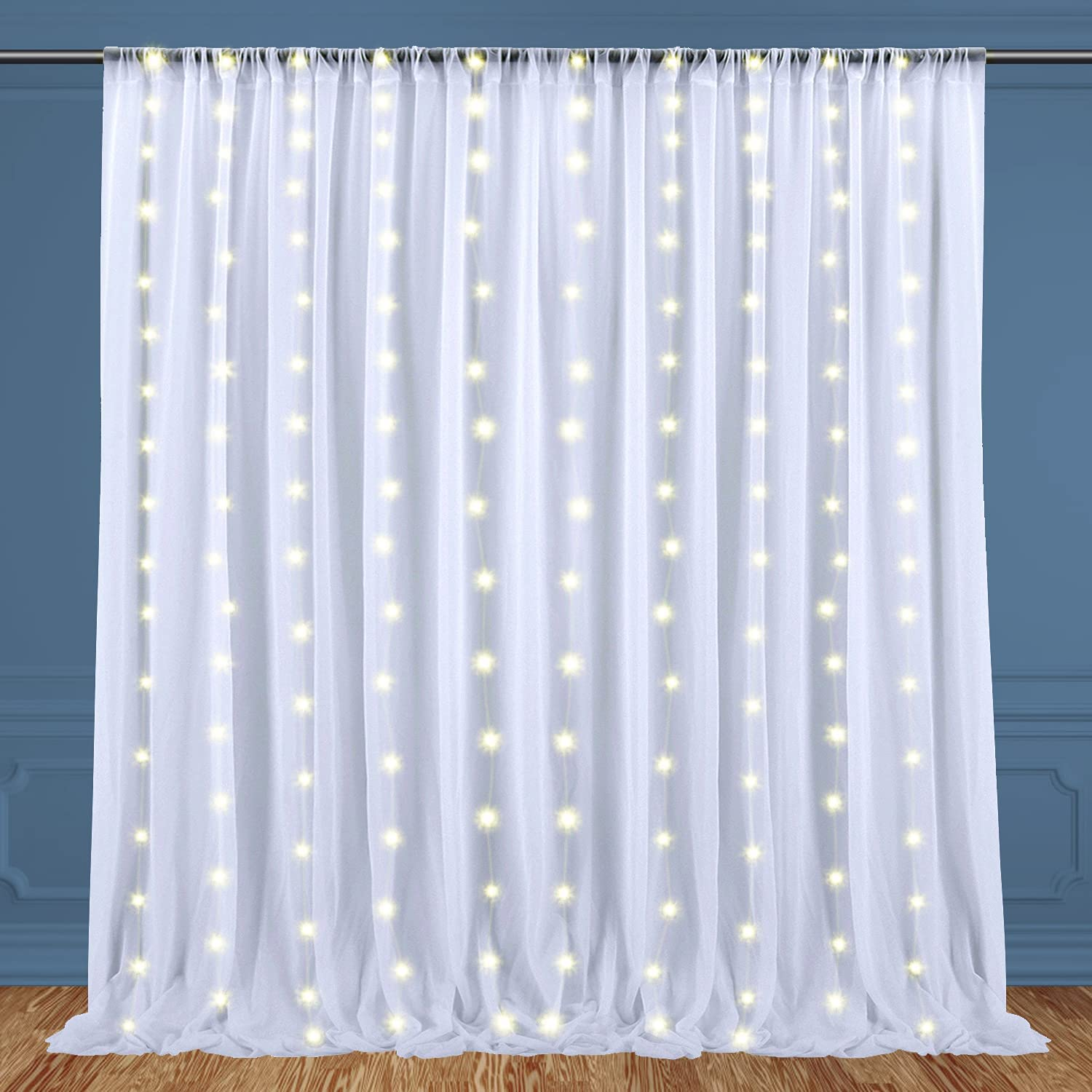 10x10ft White Sheer Daily bargain sale Tulle Popular brand Backdrop Strip Light with for Curtain