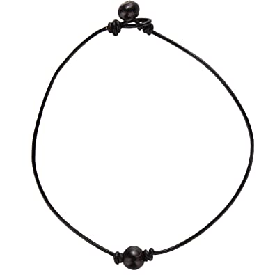 3fb6726c205b7 Single Genuine Black Peacock Pearl Choker Necklace on Black Leather Cord  for Women