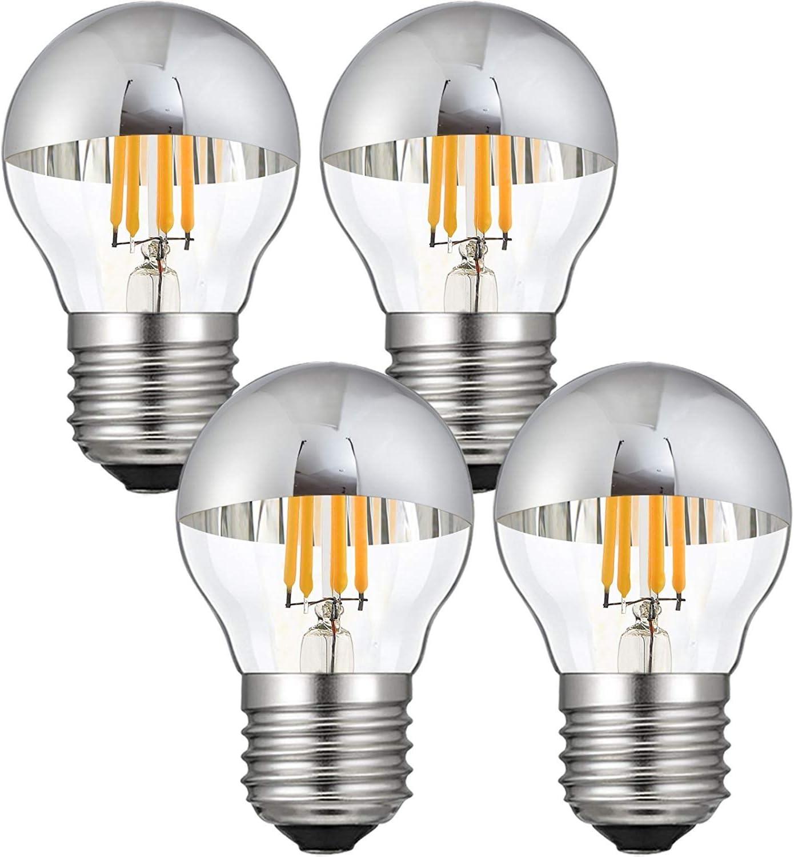 LXcom 4W G45 Edison LED Bulb Silver Tipped Dimmable Vintage LED Filament Bulbs(4 Pack)- E26/E27 Base G45 Antique Half Chrome LED Light Bulb Warm White 2700K 40W Equal,AC110V-130V