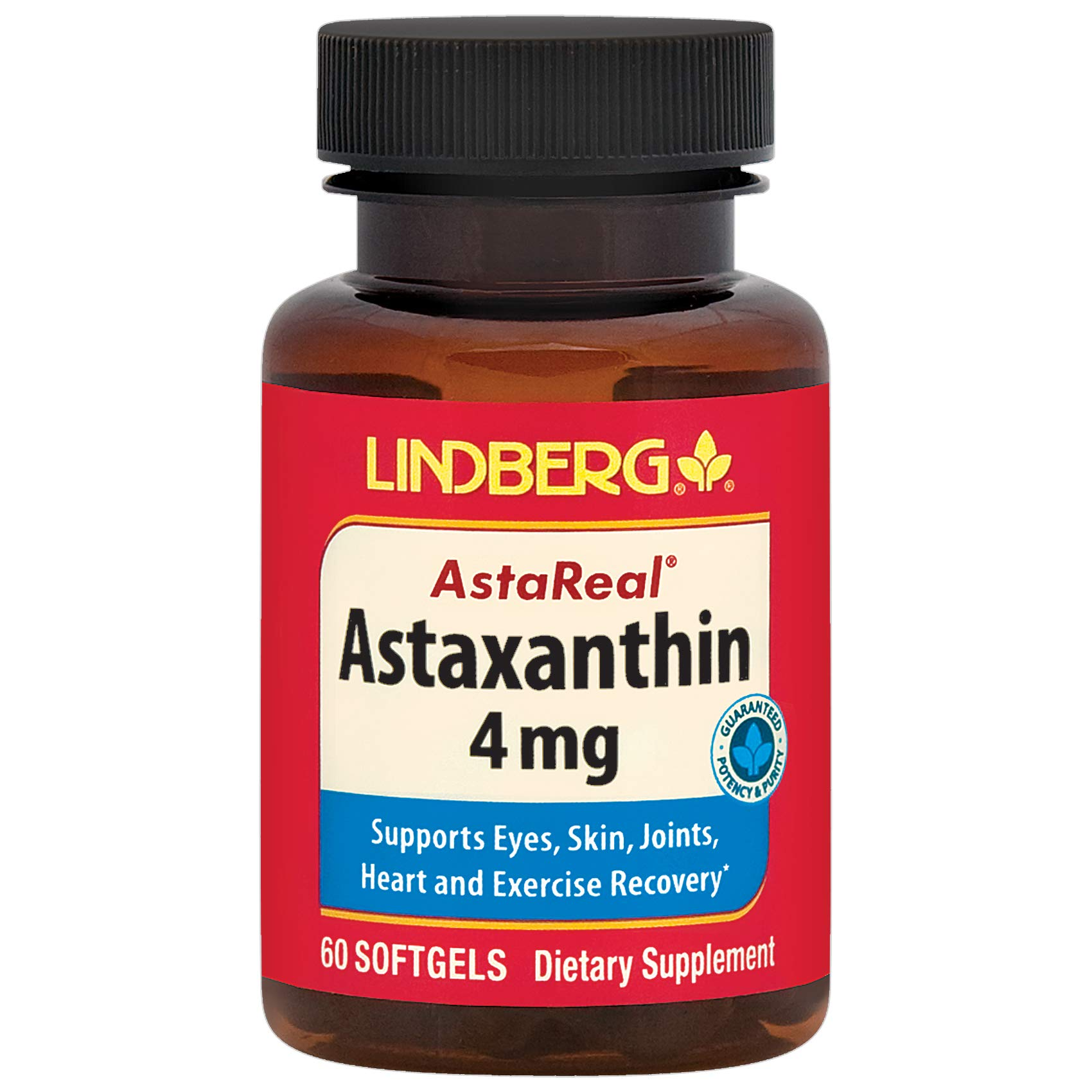 Lindberg Astaxanthin 4 Mg - Supports Eyes, Skin, Joints, Heart and Exercise Recovery - 60 Softgels
