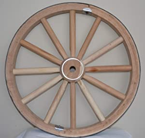 AMISH WARES Decorative - Wood Wagon Wheel - 30 Inch x 1 Inch Steam Bent Hickory Wagon Wheel with wooden hub