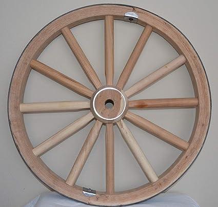 AMISH WARES Decorative - Wood Wagon Wheel - 30 Inch x 1 Inch Steam Bent  Hickory Wagon Wheel with wooden hub