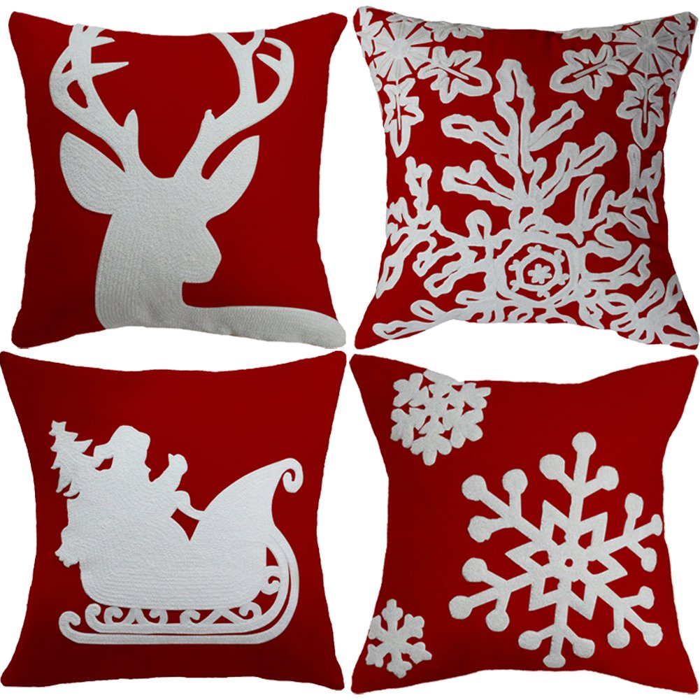 Goege Bailey 1 Pcs Christmas Pillow Cover Embroidered Reindeer Throw Pillow Case 18x18