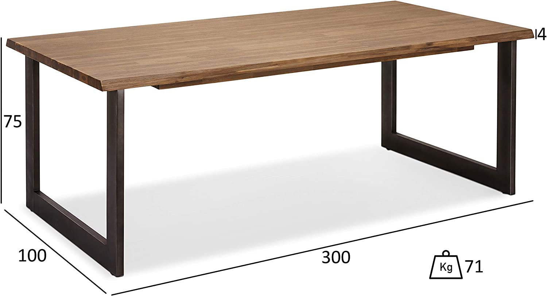 Ibbe Design Furniture Mesa de Comedor, Madera Maciza de Acacia, marrón, 300x100: Amazon.es: Hogar