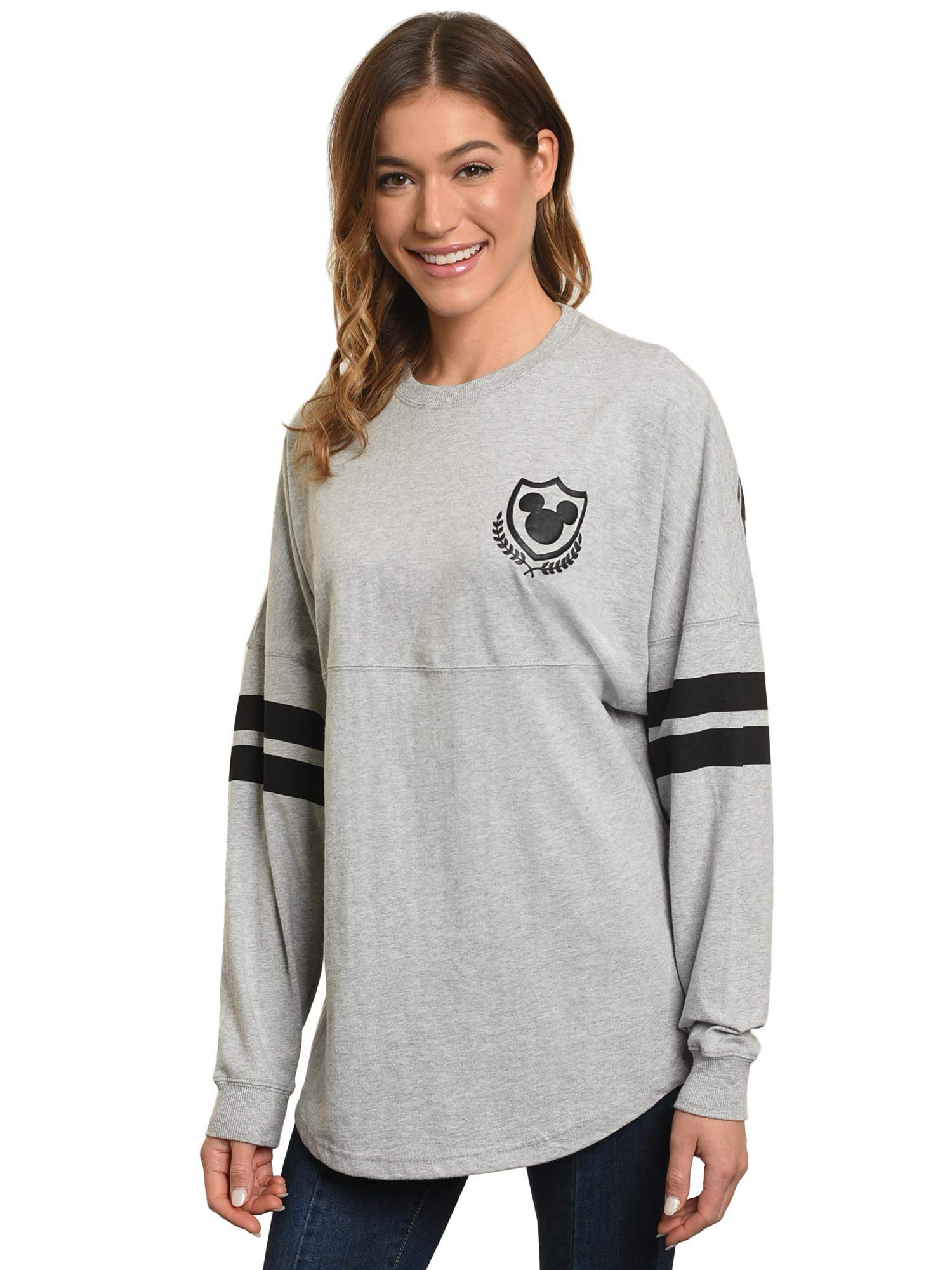 Disney Jersey Women's Mickey Mouse Long Sleeve Crew Neck (Heather Grey, Medium)