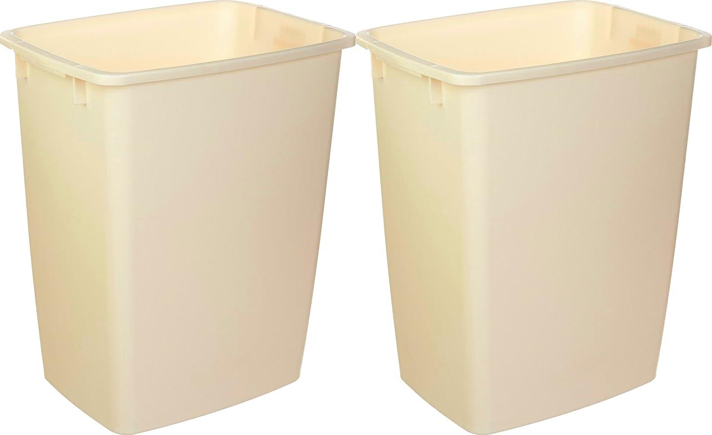 Rubbermaid Large Rectangle Wastebasket 36 Quart (Bisque) 2 Pack