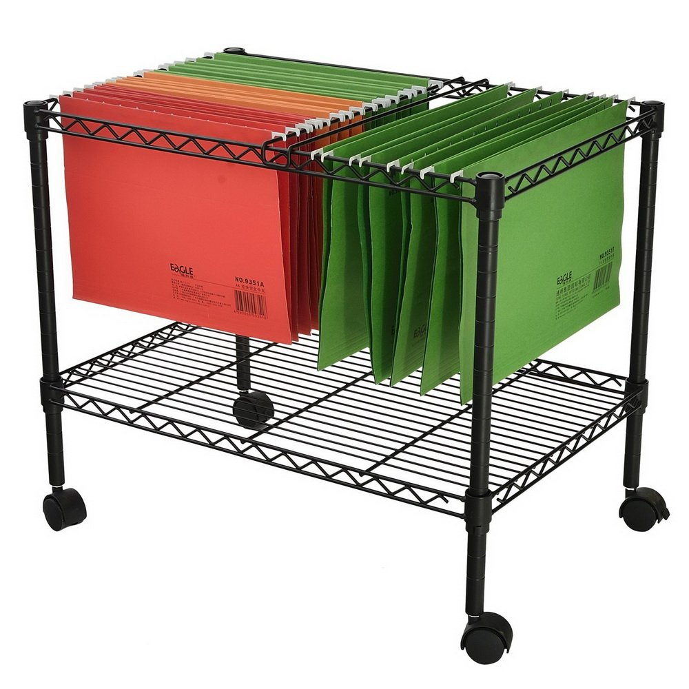 MOONBUY Single Tier Mobile Metal Rolling File Cart, Portable File Cart for Letter and Legal Size Folder Home Office Bottom Mesh Platform 23.6'' x 12.6'' x 18'' by MOONBUY