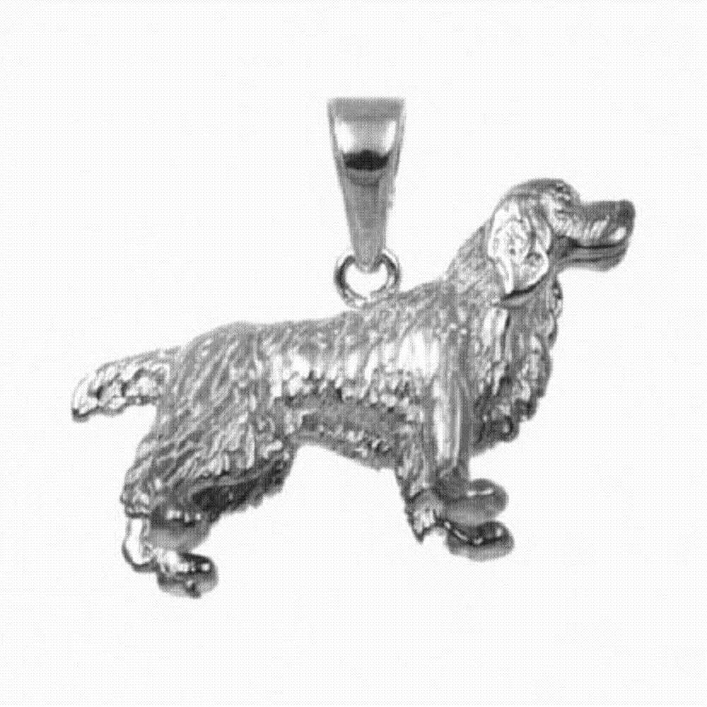 18 Italian Box Chain Sterling Silver English Springer Spaniel Dog 3D Solid Pendant Made in USA