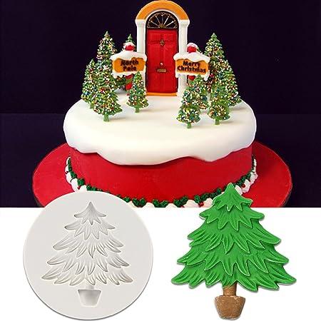 Árbol de Navidad nieve evilandat molde de silicona Cookie galleta chocolate Hornear Fondant molde para cake Cupcake decoración, silicona, Tree: Amazon.es: ...