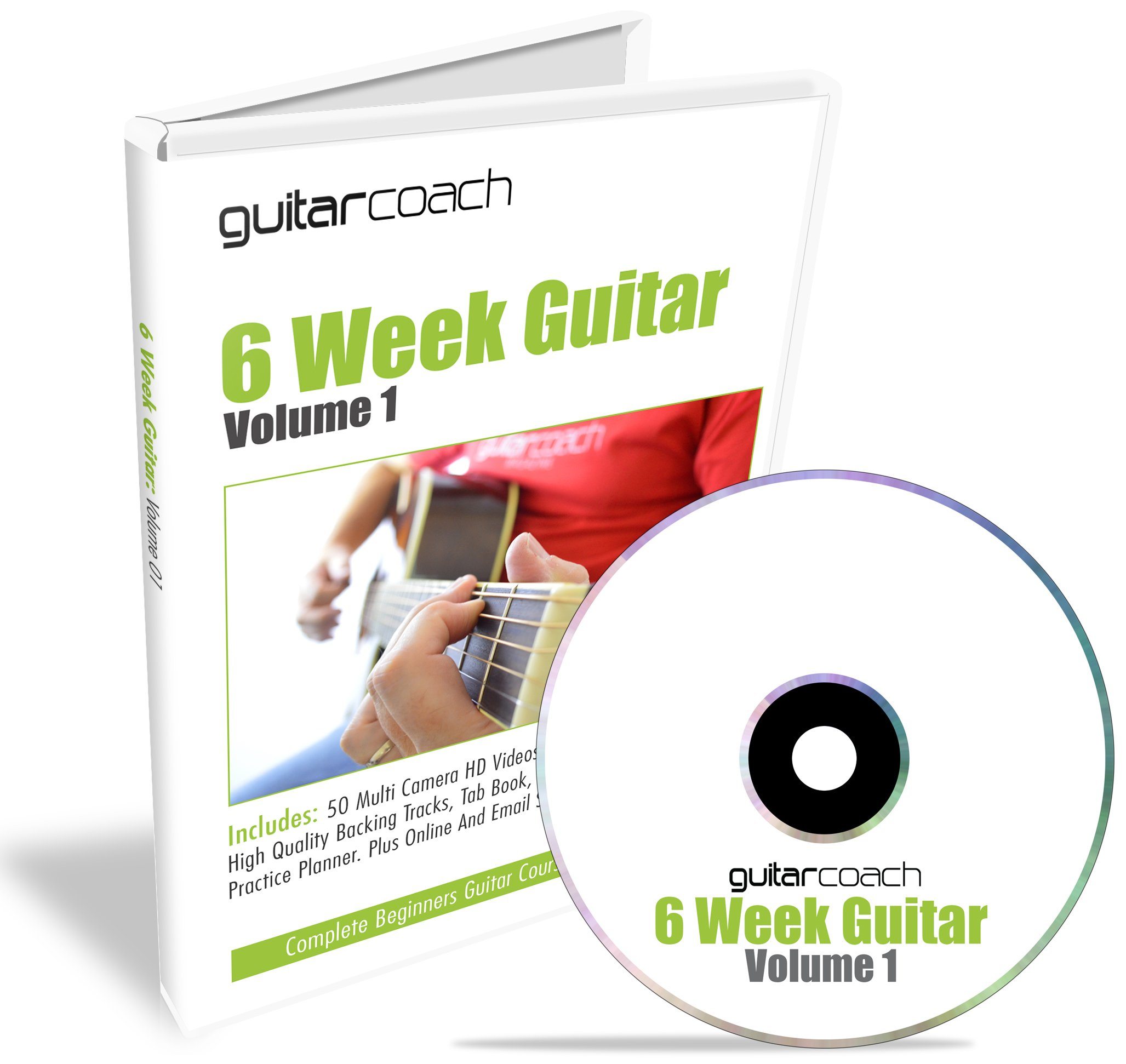 GUITAR COACH Learn To Play Guitar: 50 HD Videos (mp4), Backing Tracks (mp3), 100 Page Course Guide, Tab Book, Chord Chart, Practice Planner (pdf's)