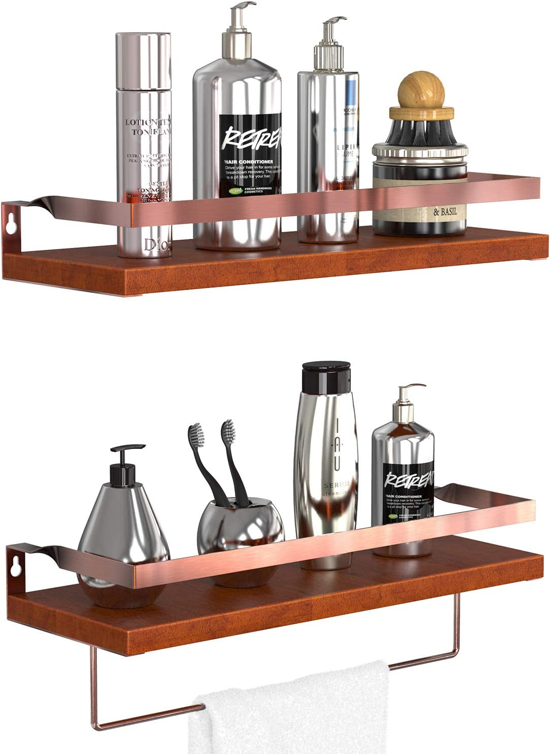 GeekDigg Floating Shelves Wall Mounted Set of 2, Pine Wood Wall Storage Shelves with Rose Gold Rails for Bedroom, Living Room, Bathroom, Kitchen, Office and More Carbonized Black