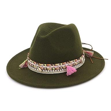 916fbdd98d73a9 Womens Fedora Hat Wool Khaki Jazz Hats Female National Casual Large Brim  Vintage Autumn Classic Felt Hat 2019 at Amazon Women's Clothing store: