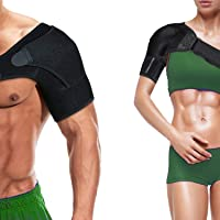 Shoulder brace Sleeve Shoulder Cuff with Pressure Pad Adjustable Breathable Neoprene shoulder support brace for Rotator Cuff AC Joint Dislocated Shoulder or Sprains for Right & Left Shoulder