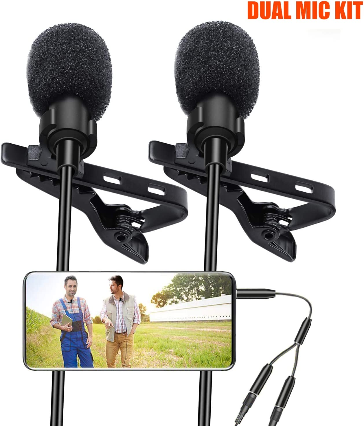 Lavalier Lapel Microphone, Kuyang 2 Pack Omnidirectional Mic for Smartphone, Desktop PC Computer, DSLR, Recording Mic for Podcast, YouTube, Vlogging, and Interview