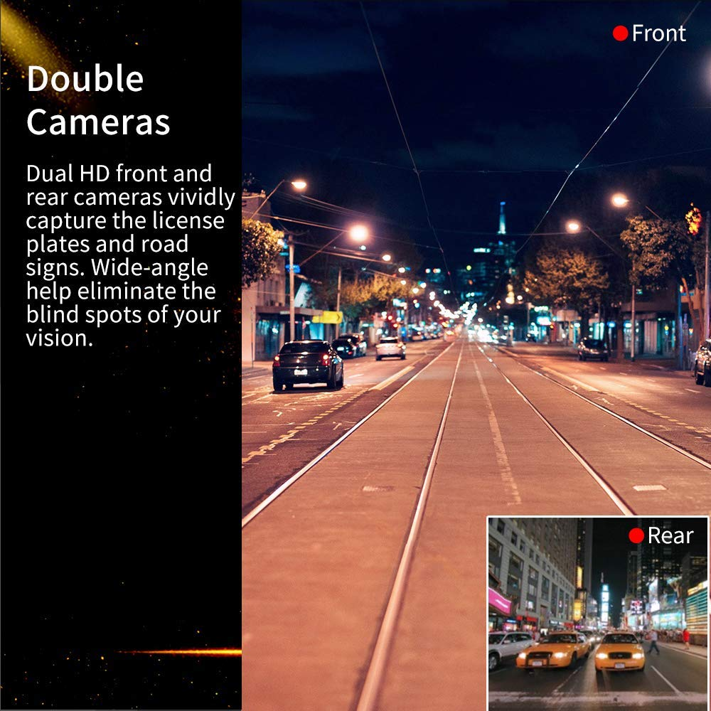 WDR Carigogo Dash Cams for Cars Front and Rear FHD 1080P Dashcam Parking Monitor Loop Recording SD Card Included Dual Dash Cam with F1.8 Night Vision 170/°Wide Angle Dashcams for Cars G-Sensor