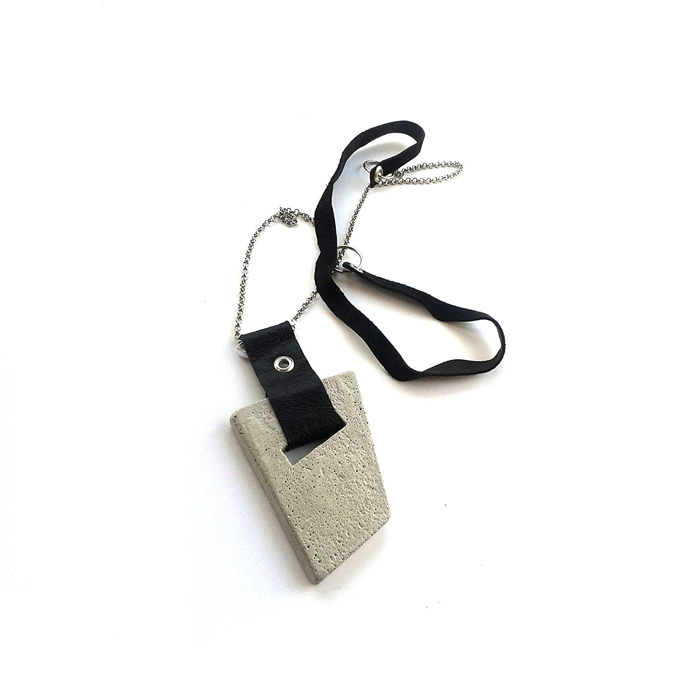 Silver Accent Concrete Pendant Necklace