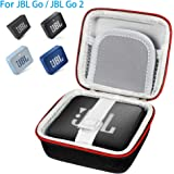 Pushingbest JBL GO 2 Case, Hard EVA Carry Bag Case Cover for JBL Go 1/2 Bluetooth Speaker, Mesh Pocket for Charger and Cables (BlackEVA CaseOnly)