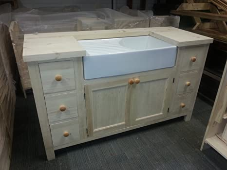 Free Standing Large Kitchen Unit For Belfast Sink Unit In Solid Pine Amazon De Home Kitchen