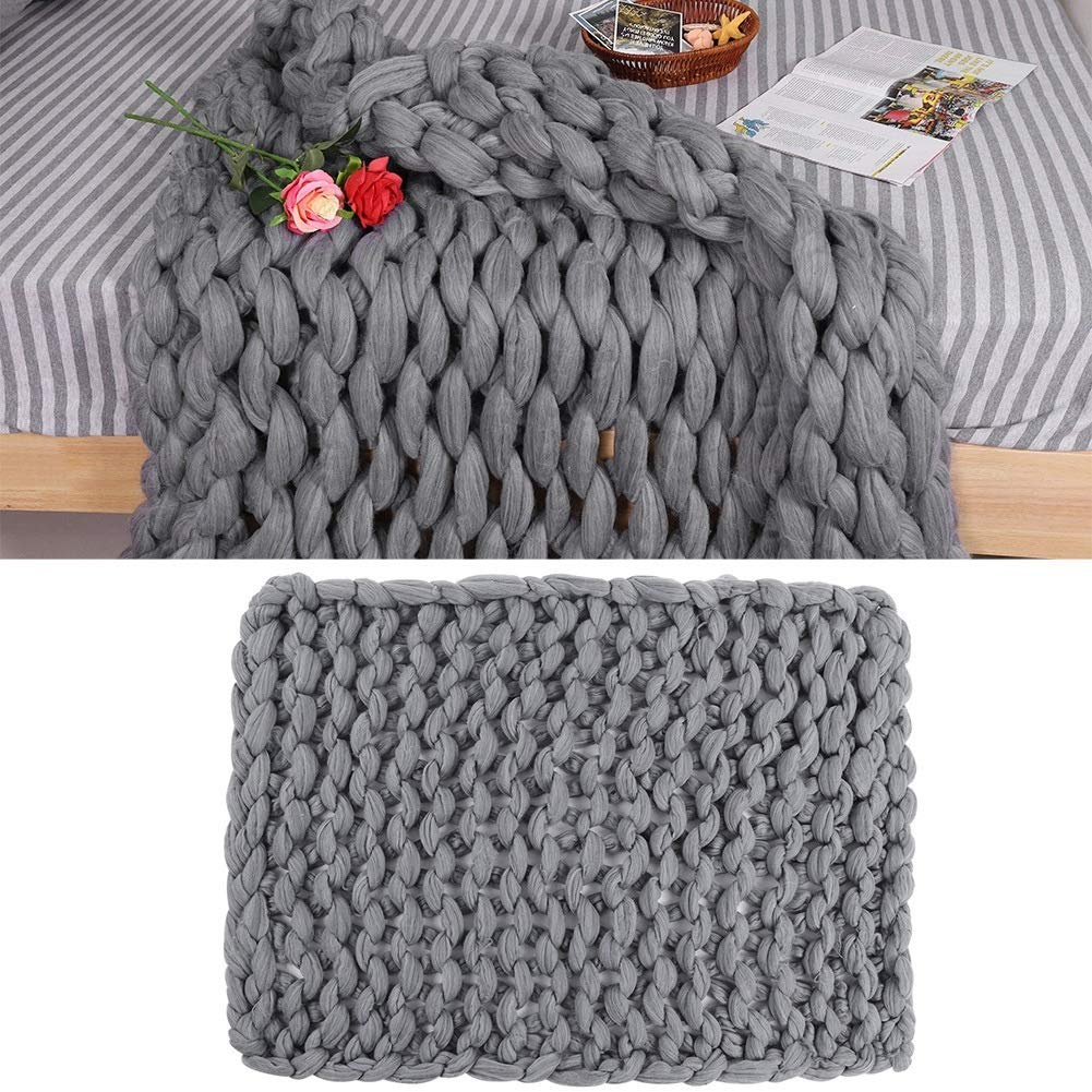 Knitted Blanket - Handmade Knitted Warm Blanket, Wool Thick Line Blanket Throw, Home Decor (Size : 100 x 130 cm)