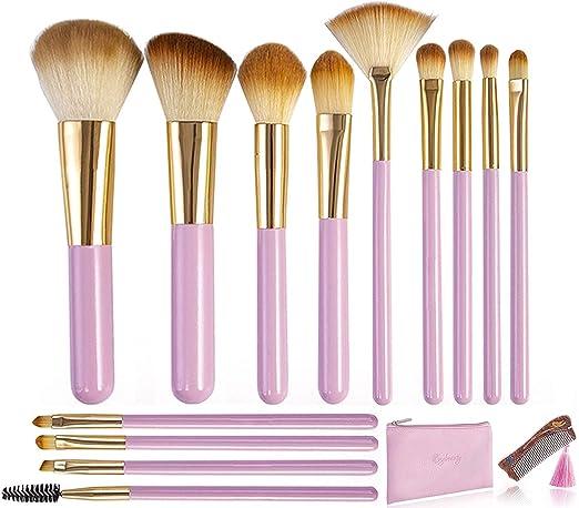Makeup Brushes,JINDING Makeup Brush Set with Sandalwood Comb-13Pcs Best Travel Kit, Foundation Brush Blending Face Powder Blush Concealers Eye Shadows Make Up Brushes Kit(Pink)