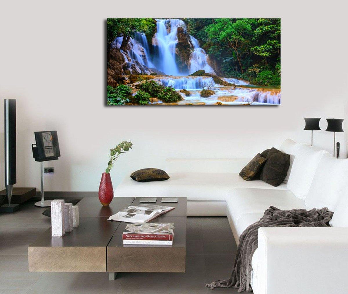 Amazon.com: Canvas Wall Art Waterfall Mountain Lake Nature Painting ...