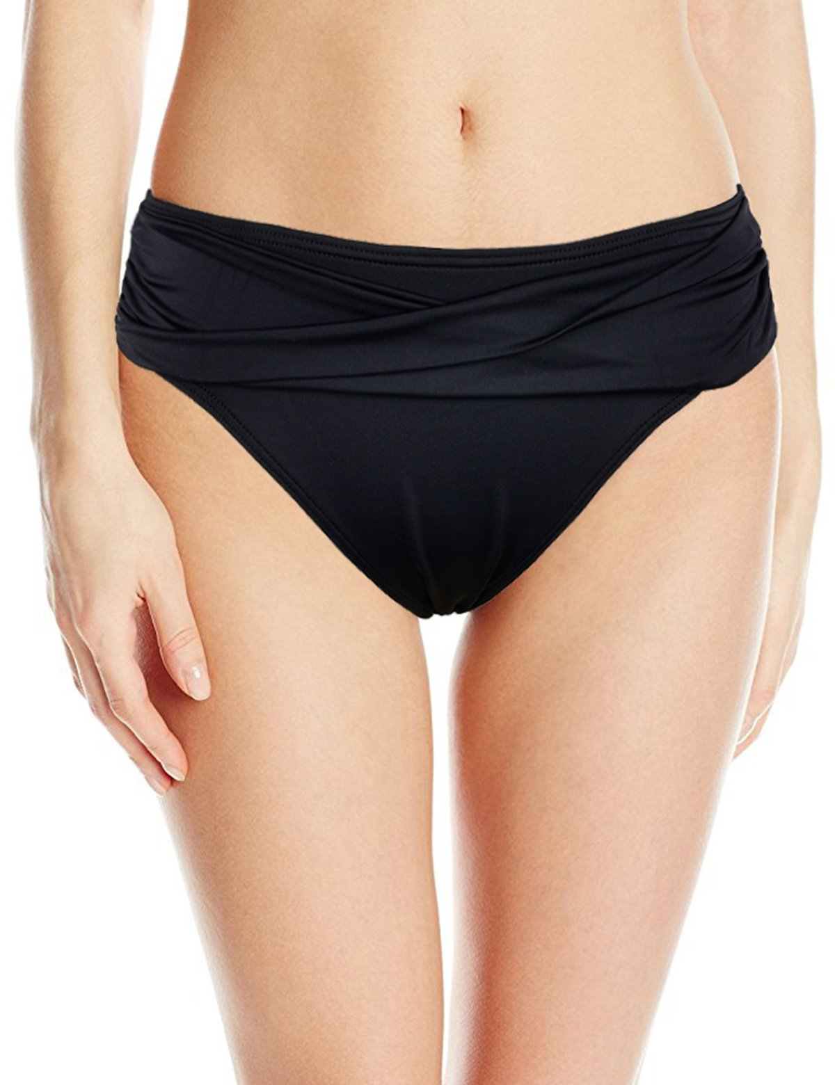 Septangle Women's Twist Band Bikini Bottom Ruched Swim Brief (Black,US 14)