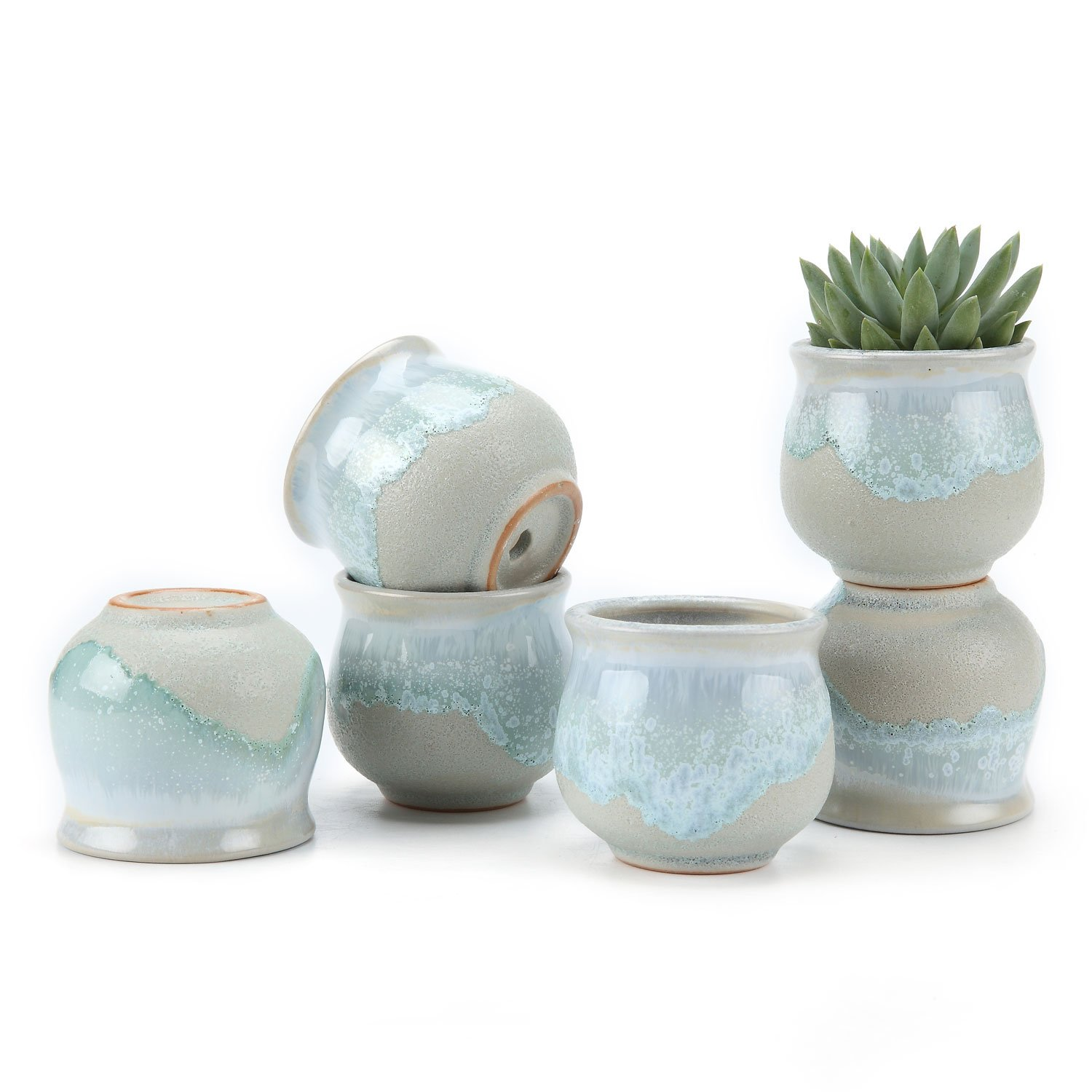 T4U 2.5 Inch Ceramic Flowing Glaze Solid Gray Base Serial Open Mouth Shape Succulent Plant Pot/Cactus Plant Pot Flower Pot/Container/Planter Package 1 Pack of 6 by T4U