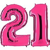 Ballon Zahl 21 in Pink - XXL Riesenzahl 100cm - zum 21. Geburtstag - Party Geschenk Dekoration Folienballon Luftballon Happy Birthday Rosa - PARTYMARTY GMBH®